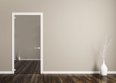 Interior background of room with white door and vase with branch 3d rendering